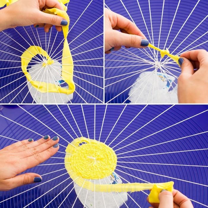 fabriquer un pouf, faire des nœuds, tissu jaune, filet blanc