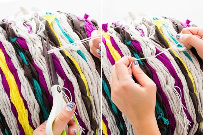 tuto pouf, manucure brillante, manucure bleu et blanc, bandeau violette, pouffe geant
