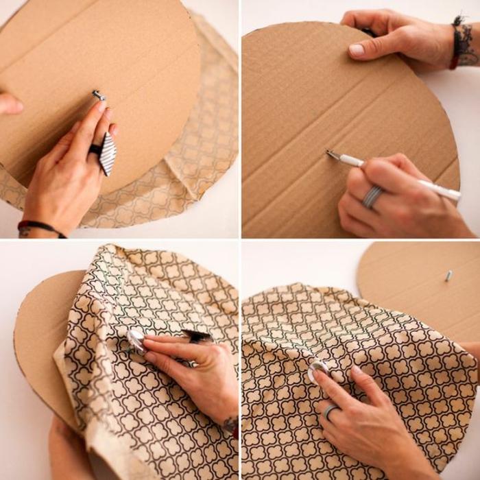 fabriquer un pouf, tissu beige à décoration noir, cercle en carton, bague blanc et noir