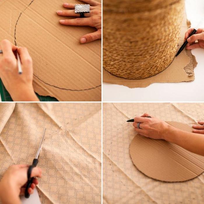 fabriquer un pouf, cercle en carton, tissu beige, paire de ciseaux noires