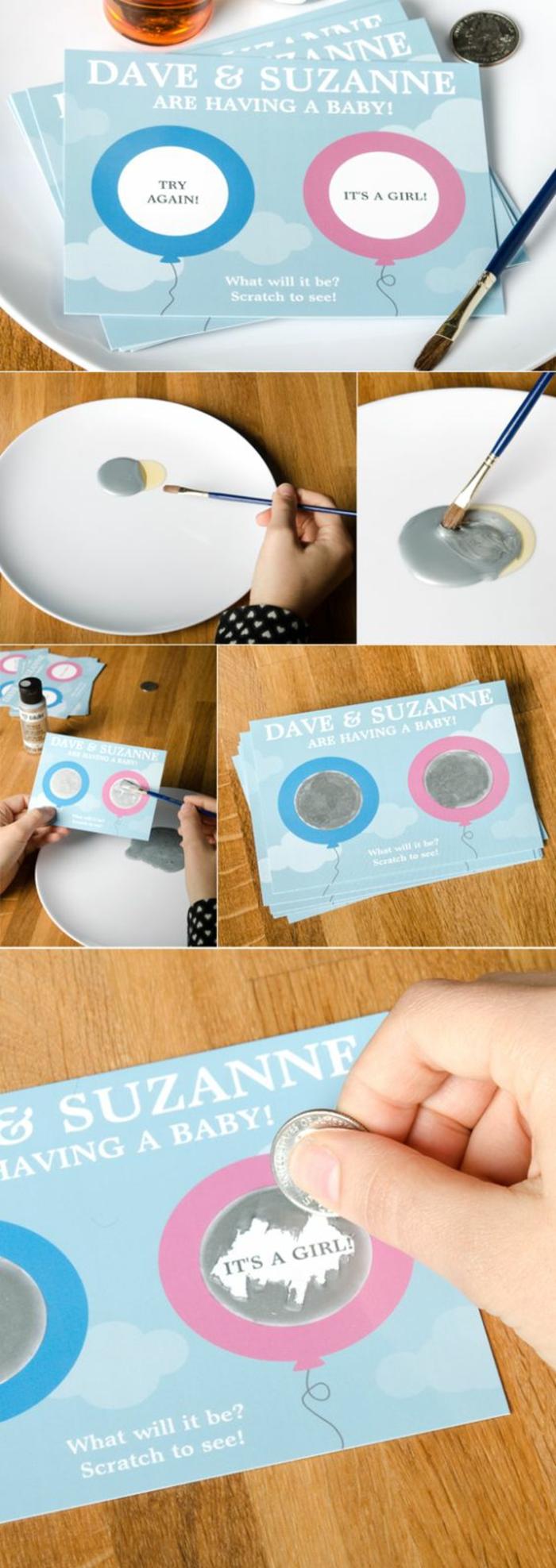 idée originale pour une baby shower garçon ou fille, carte à gratter qui révèle le sexe du bébé