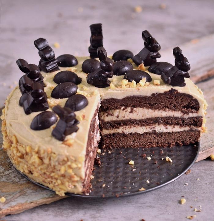 quel dessert préparer pour pâques, idée de gâteau thématique pâques au chocolat, exemple patisserie sans oeuf