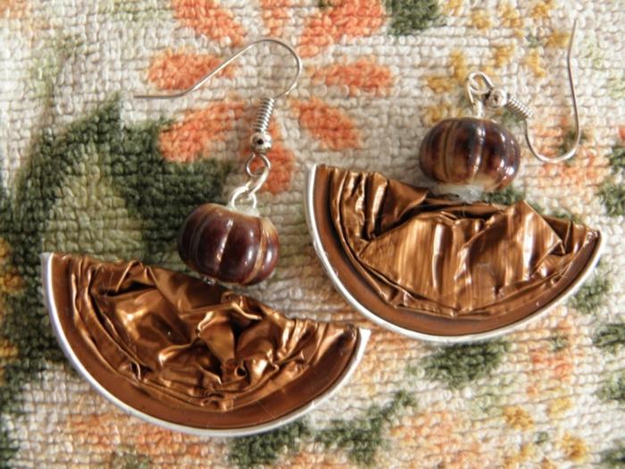 nespresso recyclage, boucles d'oreilles originales