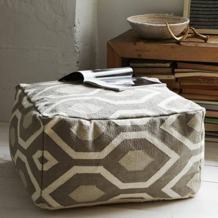fabriquer un pouf, parquet en bois, murs blancs, livres, panier en paille