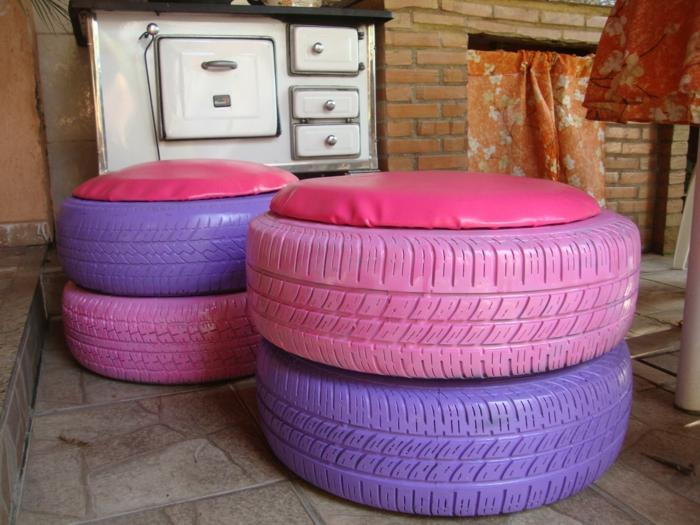 tuto pouf, murs en briques, housse en cuir rose, fabriquer un pouf en pneus