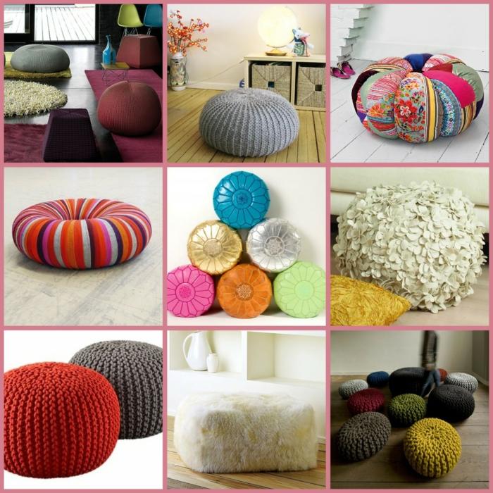 fabriquer un pouf, pouf en crochet, pouf en fausse fourrure, modèles multicolores