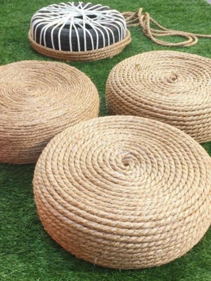 fabriquer un pouf pour le jardin, pouf en pneu et corde