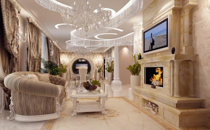 salon baroque, plancher en marbre, cheminée en marbre, rideaux longs, décoration baroque