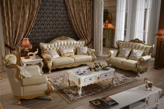 salon baroque, parquet en bois, rideaux marron, meubles de charme, décoration baroque, papier peint foncé