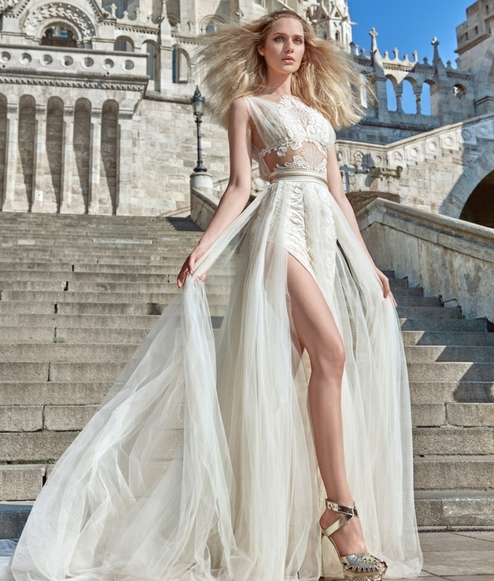robe de mariée grecque, bustier transparent en dentelle, haute taille, robe à ouvertes jambes
