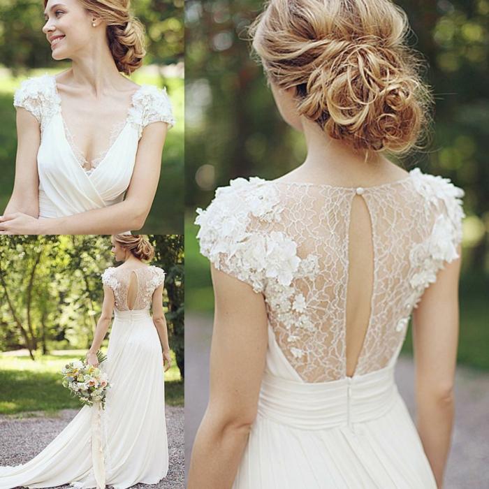 robe de mariée grecque, petites manches en dentelle, dos transparent en dentelle et perle