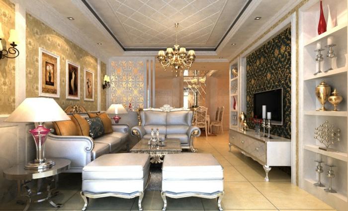 deco baroque, plafond suspendu, papier peint à motifs floraux, meubles de charme, table basse en argent