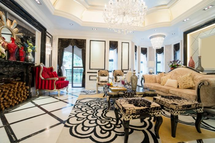 décoration baroque, fauteuil rouge, plancher en blanc et noir, miroir doré, plafond suspendu, lustre en cristaux