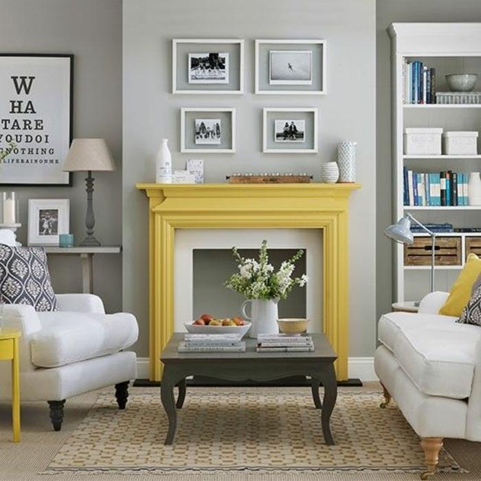 salon gris et jaune, manteau de cheminée jaune, table de salon baroque moderne