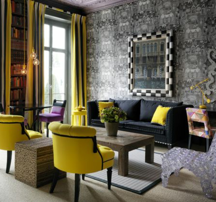 1001 variantes de salon gris et jaune pour vous inspirer. Black Bedroom Furniture Sets. Home Design Ideas
