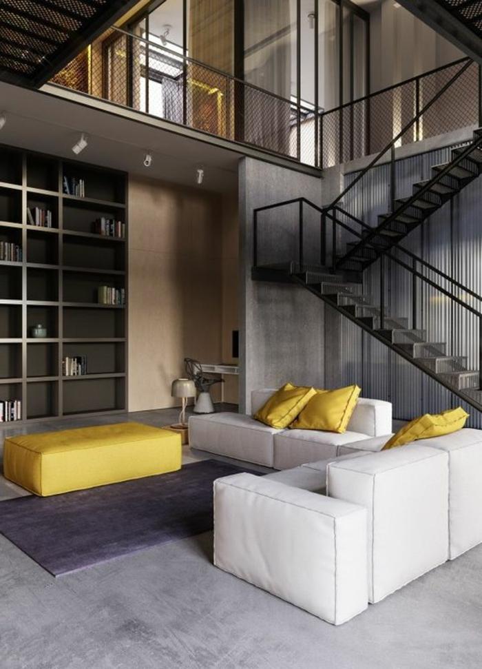 salon jaune et gris, joli salon contemporain, escalier tournant et bibliothèque intégrée, meubles géométriques
