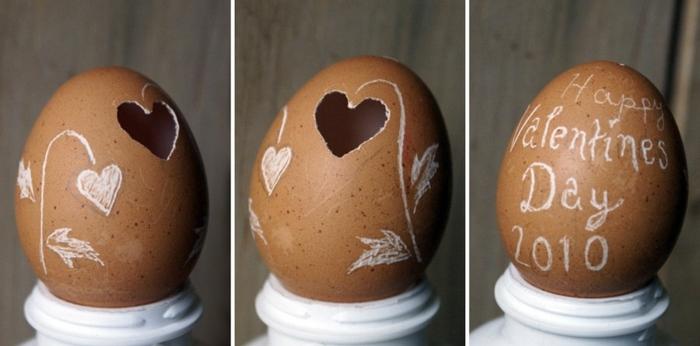 coquille oeuf troue en forme de coeur, idée de cadeau saint valentin, dessin sur coquille d oeuf, idée comment customiser un oeuf