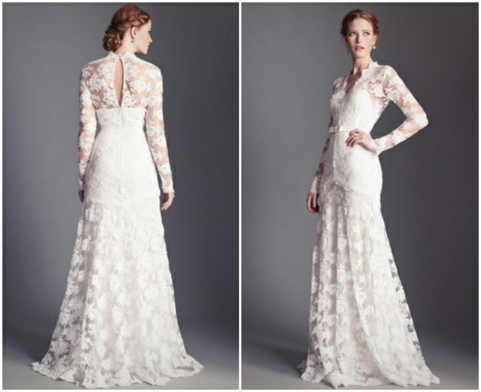 robe de mariée longue dans l'esprit vintage, silhouette élégante