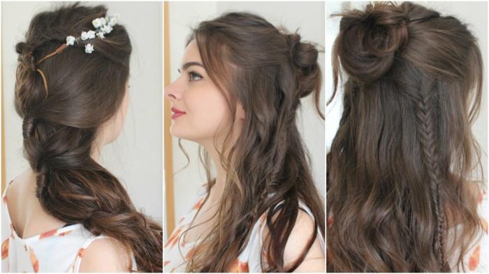 Magnifique coiffure boheme chic coiffure simple a faire brune trois options