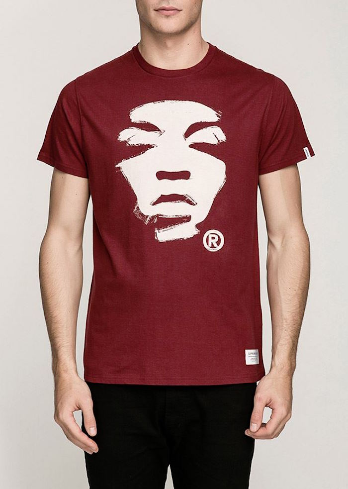 tee shirt Supremebeing visage femme bordeaux style londres