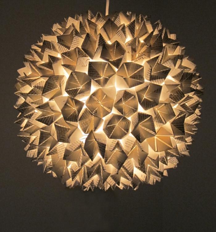 luminaire origami, boule lumineuse en papier, lumière jaune, lampe en papier