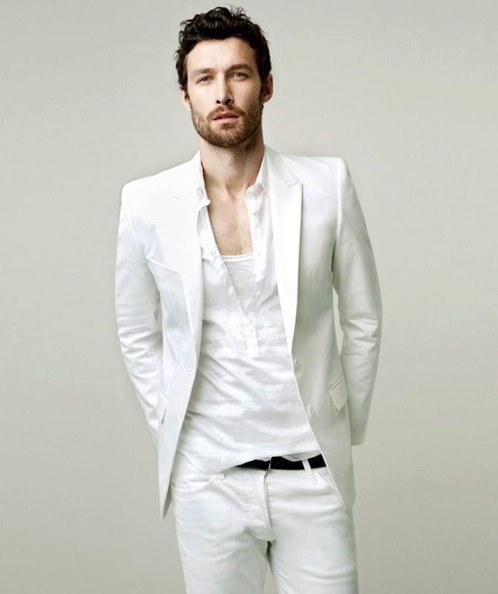 tenue blanche homme avec veste tee shirt tunisien et pantalon blanc pour été