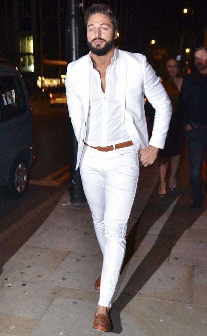 tenue blanche homme pour soirée estival plage veste chemise pantalon blanc