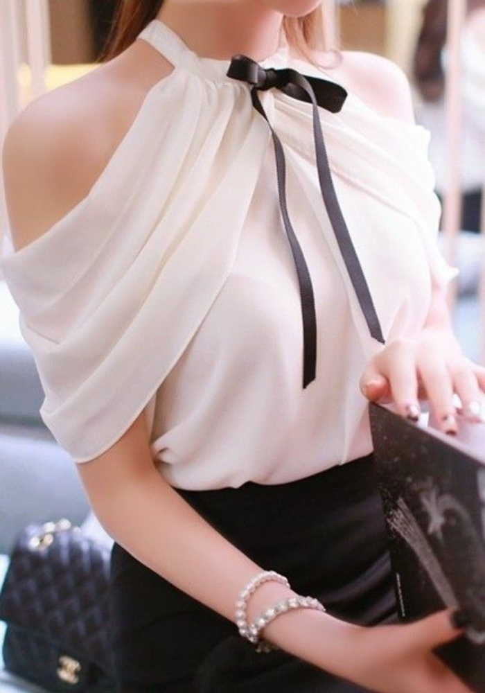 tenue chic femme blouse blanche avec noeud noir et jupe noire