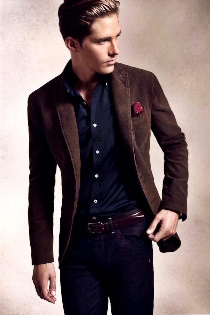 tenue sobre de ville homme veste marron de soirée