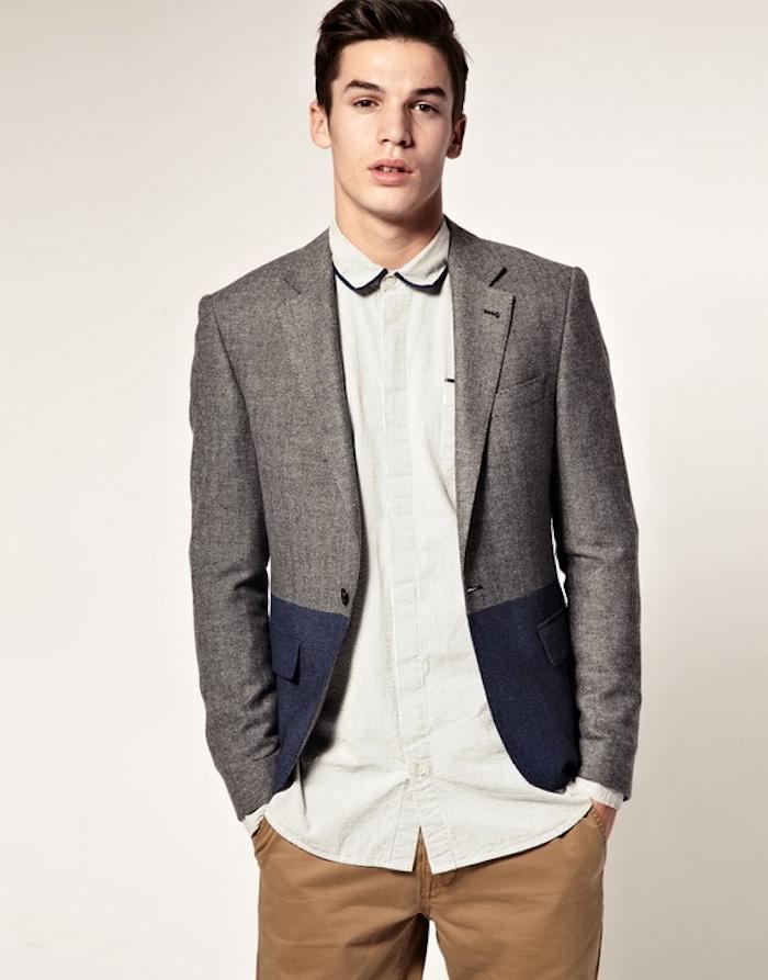 tenue de ville homme pantalon chino beige et veste grise