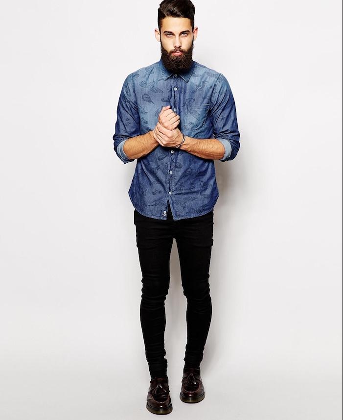 tenue soirée homme,hipster chemise en jean et pantalon noir