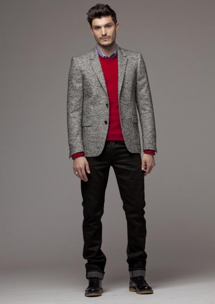 tenue simple de soirée jean veste pull rouge homme