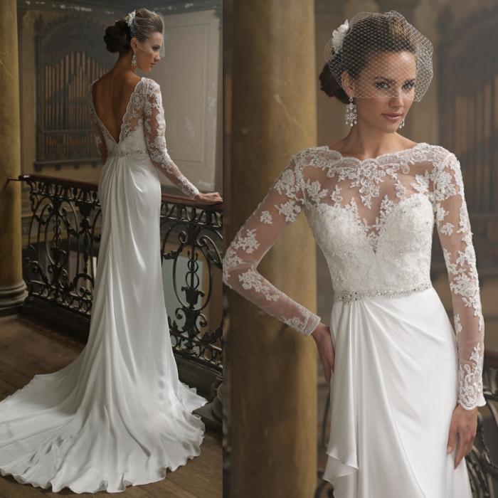 robe déesse grecque, coiffure avec voile, robe de mariée à manches longues en dentelle