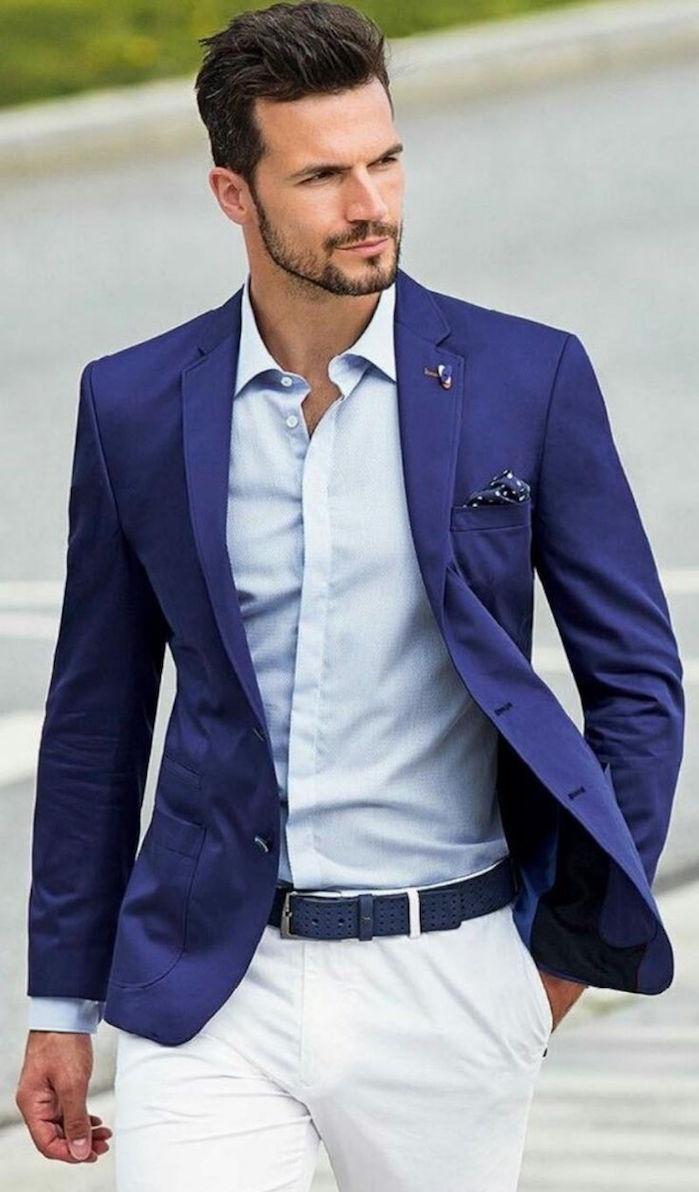 ensemble homme bleu pour soirée estivale