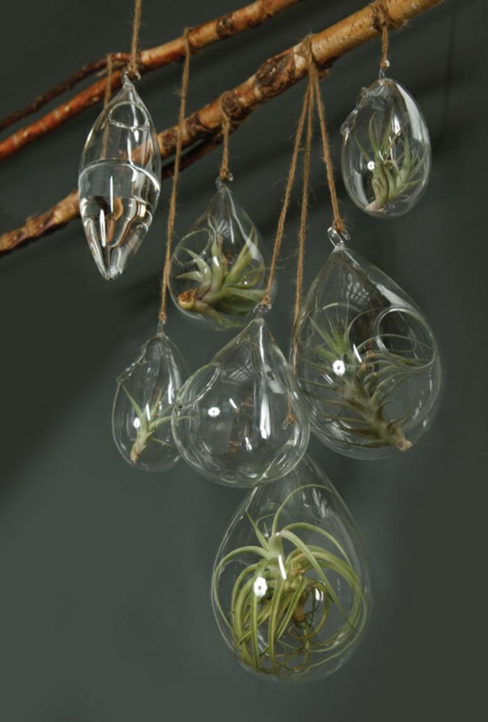 faire un terrarium, branchette décorative, terrarium succulente, récipient en verre