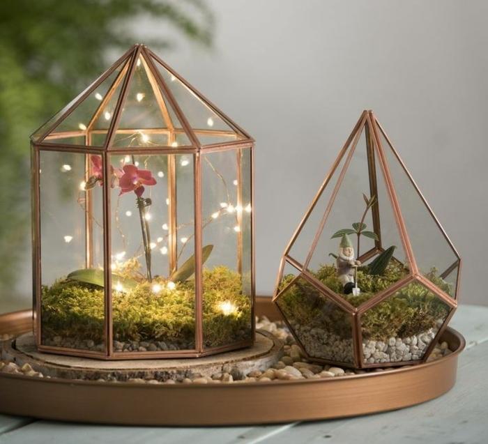 jardin miniature, récipient en verre, cailloux décoratifs, faire un terrarium