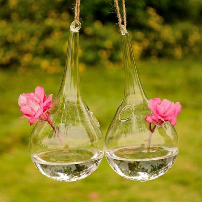 terrarium plante, fleurs rose, récipient en verre, terrarium végétal, diy décoration
