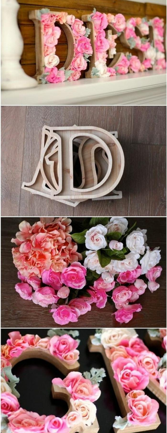 DIY déco chambre, lettre en bois décorée de fleurs rose, idée comment personnaliser la déco dans sa chambre, roses