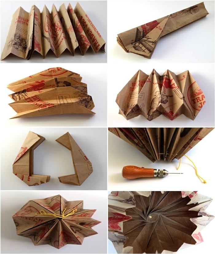 luminaire origami, comment fabriquer une lampe en papier, sac d'épicerie recyclé, fil jaune