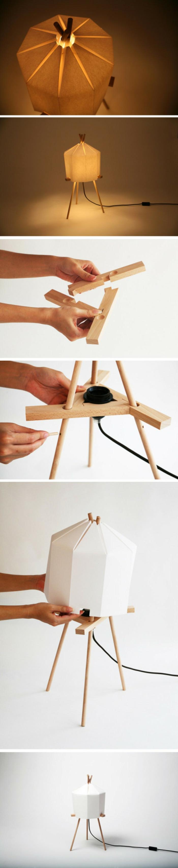 luminaire origami, comment fabriquer une lampe en papier, corde électrique, planchettes en bois