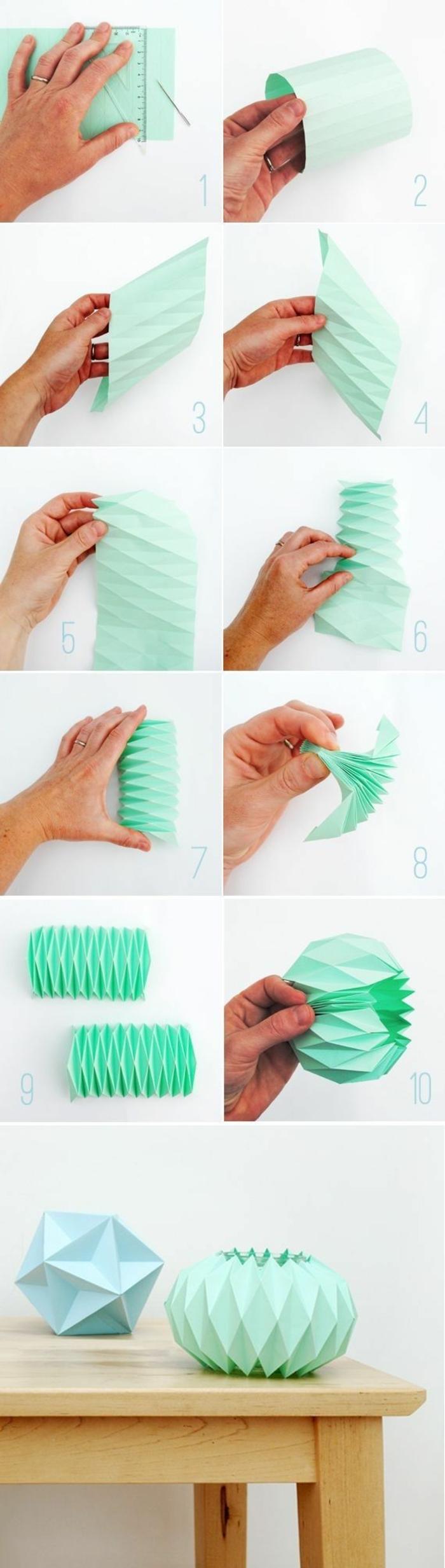 suspension origami, papier vert, technique origami, étapes à suivre, tuto origami