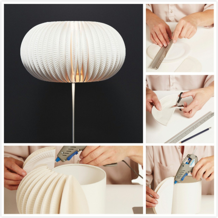 luminaire fait maison, pistolet à colle, crayon, règle, tuto origami
