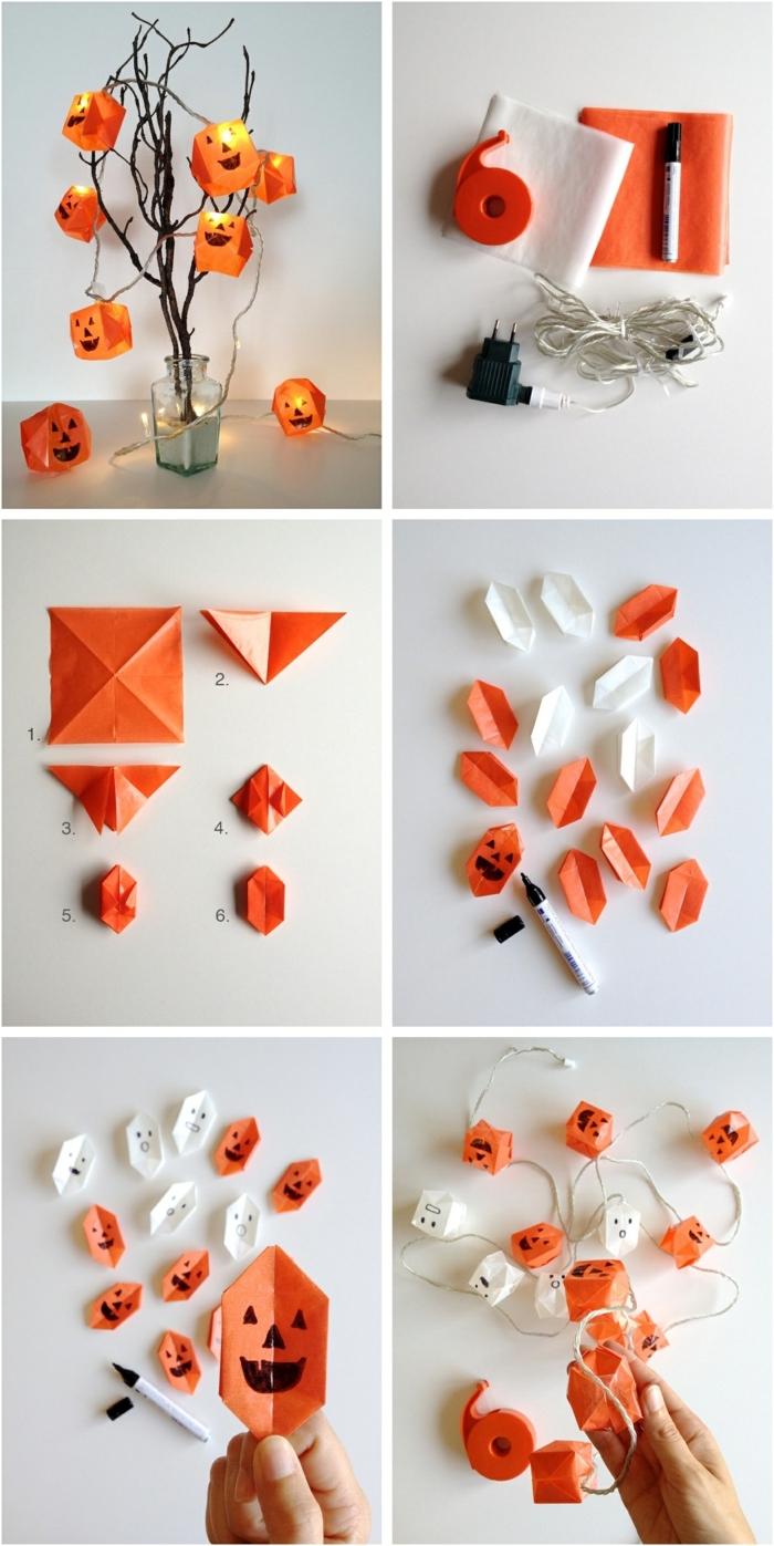 suspension origami, décoration pour Halloween, matériaux nécessaires, guirlande lumineuse LED