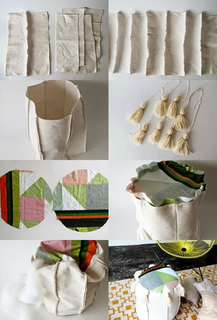 fabriquer un pouf, cercles multicolore, morceaux de tissu beige