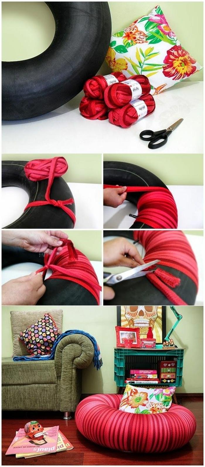 fabriquer un pouf, pneu, tissu à motifs floraux, pelote rouge