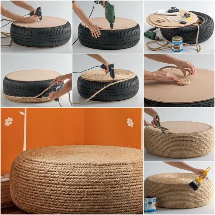 fabriquer un pouf, modèle en pneu et corde, outils nécessaire, pistolet, mur orange