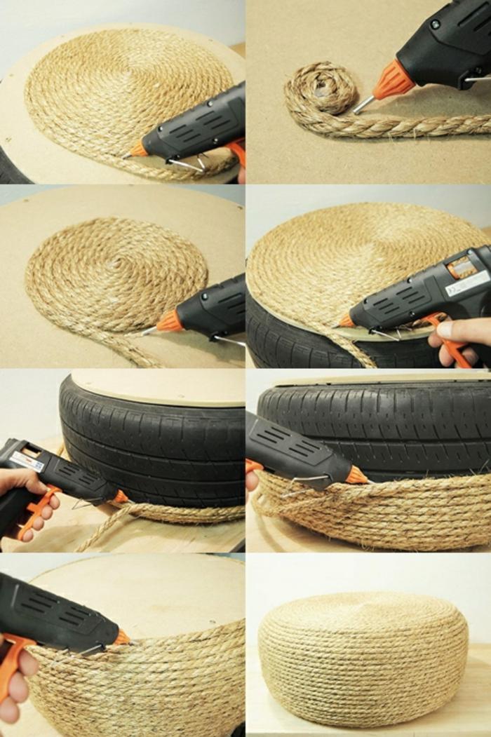 fabriquer un pouf, corde, pneu, pistolet à colle forte, tuto pouf