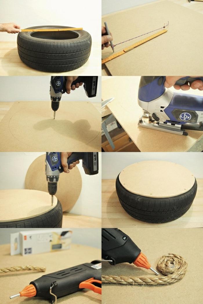 fabriquer un pouf, matériaux nécessaires, pistolet à colle forte, pneu usagé, corde