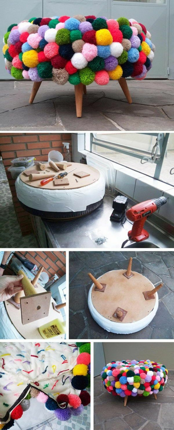 fabriquer un pouf, pompons multicolore, outils, pneu, tuto pouf