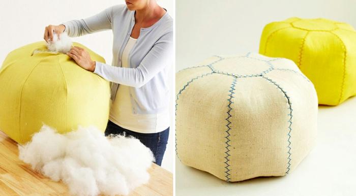 pouf pour enfant, rembourrage en coton, tissu jaune, femme habile, fabriquer un pouf